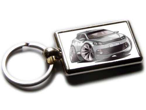 Volkswagen VW Scirocco R SPORTS Auto Koolart Chrom Keyring Bild Beide Seiten