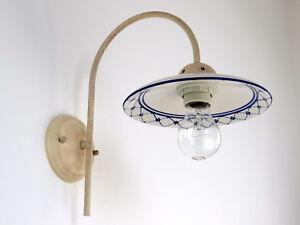 Applique lampada parete classico rustico country ceramica decorata