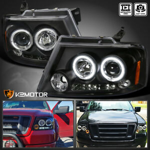 Details about For 2004-2008 Ford F150 LED Dual Halo Projector Headlights  Black Pair Left+Right