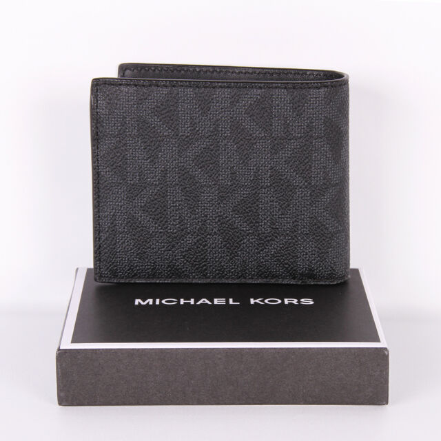 230e7d74e67d Michael Kors Jet Set Mens Billfold Wallet Coin Pocket PVC Leather Black