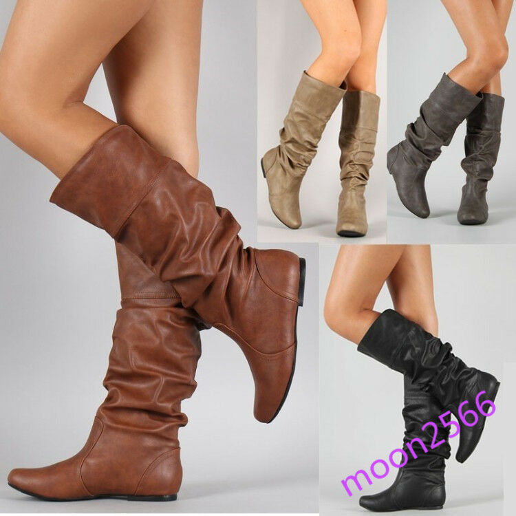Western Womens Pleated Leather Mid Calf Riding Boot Slip On Wedge shoes Hot Size