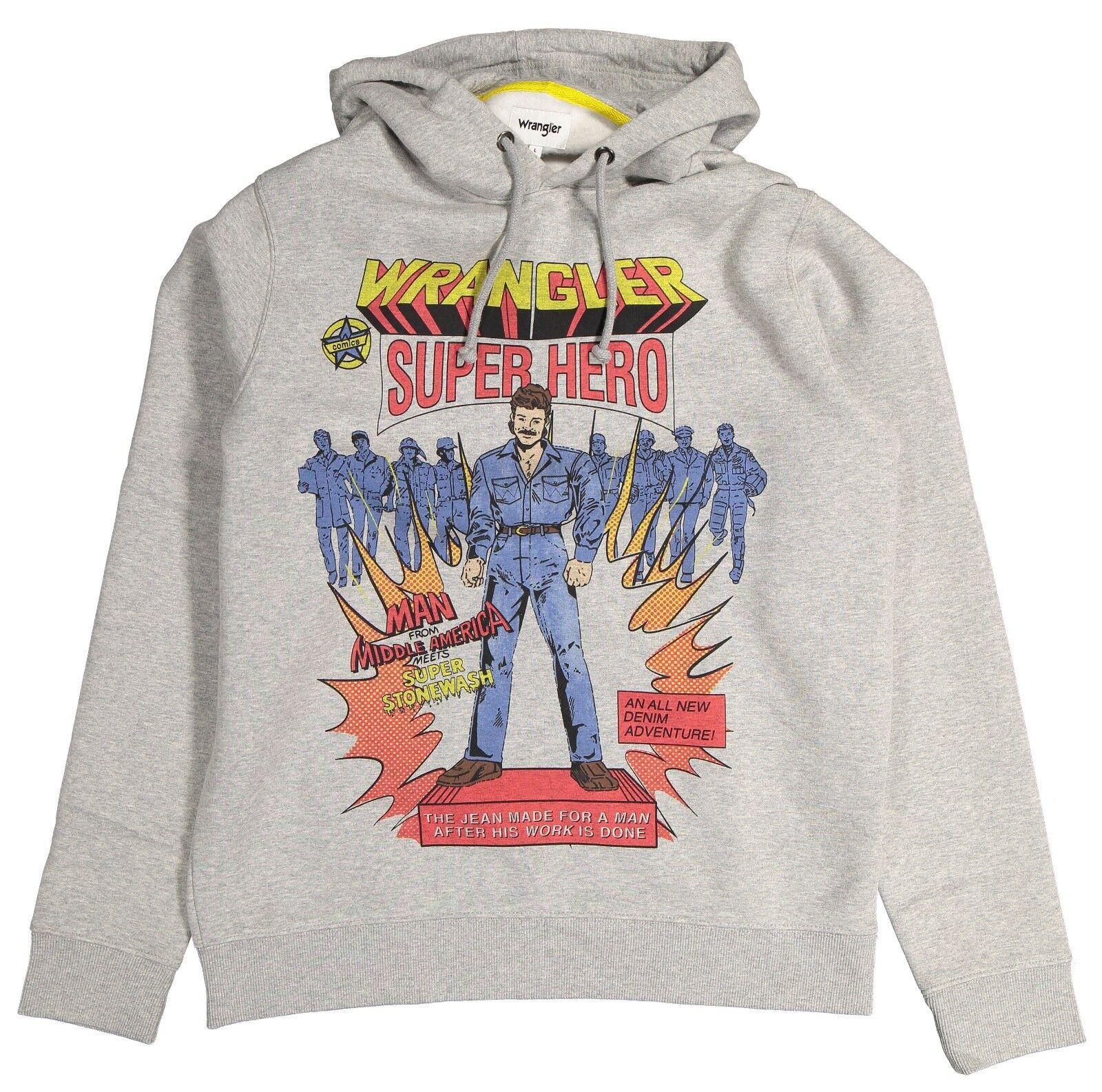380a201824 ... Wrangler Rétro Années 80 Super Super Super Héros Grand Sweat Capuche  Logo Sweat Melange Gris