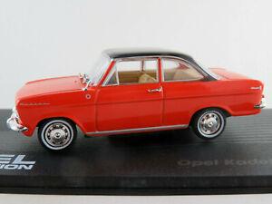 Ixo-12-Opel-Kadett-A-coupe-1962-1965-en-color-rojo-claro-negro-1-43-nuevo-PC-vitrina