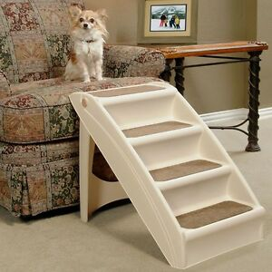 Groovy Details About Pet Stairs Folding 4 Step Dog Ramp Portable Easy Non Skid Ladder Beige Dailytribune Chair Design For Home Dailytribuneorg