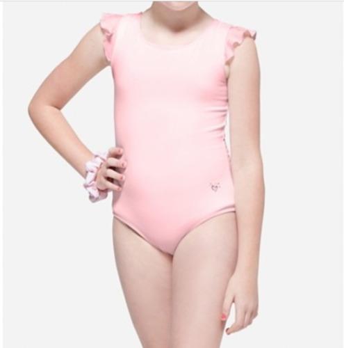 NWT Justice Girls Flutter Strappy Leotard Dance Gymnastics Scrunchie Black Pink