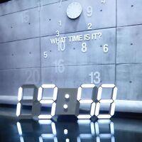 Large Modern Design Digital Led Skeleton Wall Clock Timer 24/12 3d Us Seller