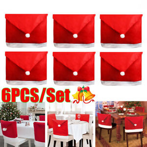 6x-Christmas-Chairs-Back-Cover-Dinner-Table-Santa-Hat-Party-Festival-Decor-Gift