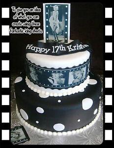Edible Marilyn Monroe Black White Movie Filmstrip Birthday Ribbon