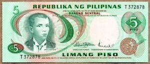 UNC Pick 160a PHILIPPINES 5 Piso 1978
