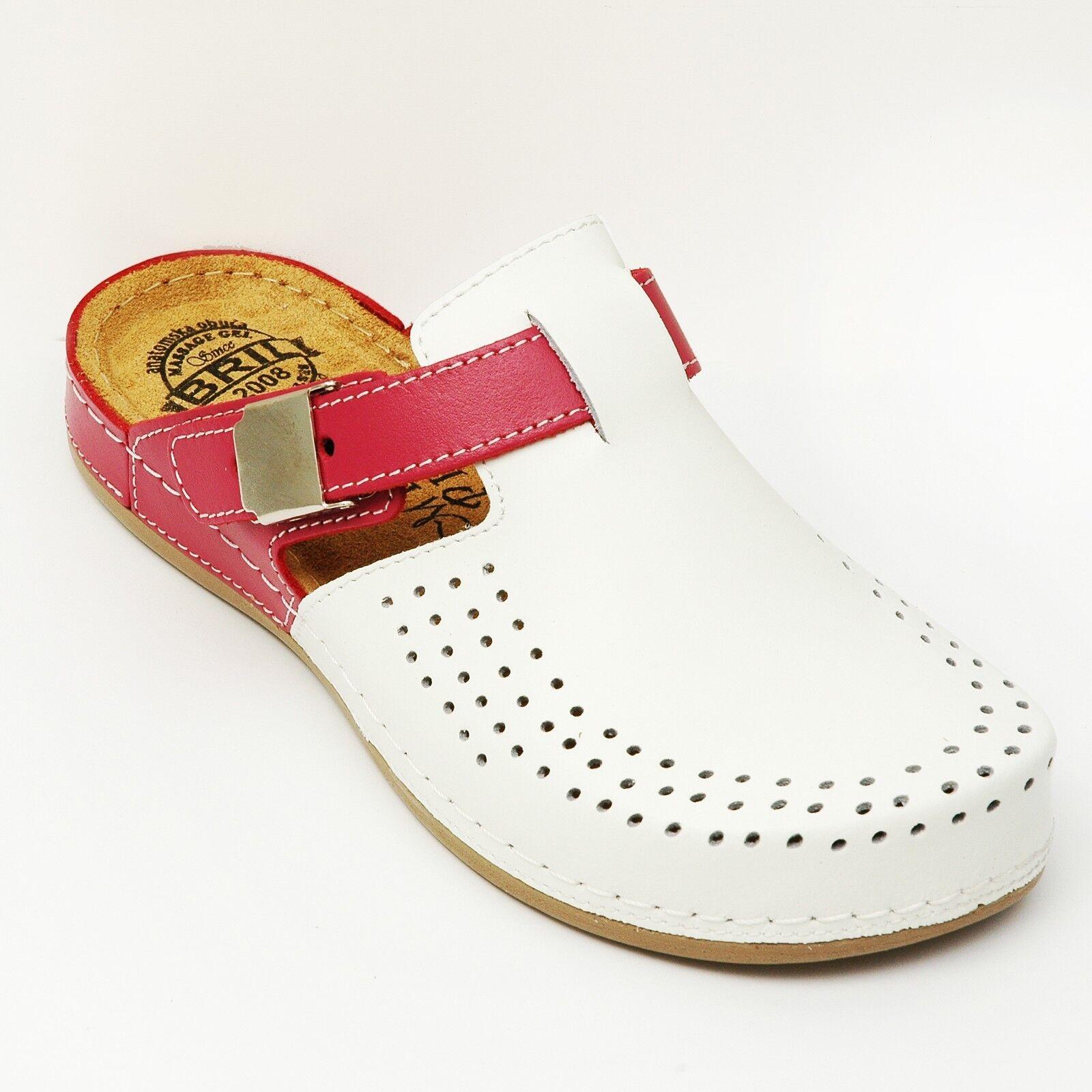 DR PUNTO ROSSO ECO IN PELLE DONNA Y77 Slip On Clogs Pantofole, Bianco-rosa | Alta Qualità  | Uomini/Donne Scarpa