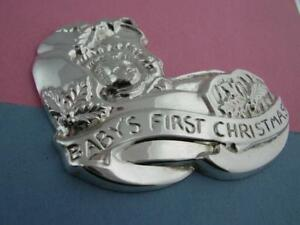 Sterling-GORHAM-Ornament-BABY-039-S-FIRST-CHRISTMAS-cradle-no-mono-24-each