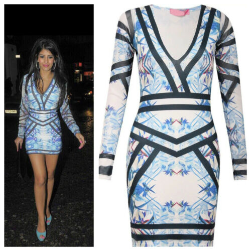 WOMENS LADIES CELEBRITY LOOK V NECK TOP BLUE FLORAL LONG SLEEVE BODYCON DRESS