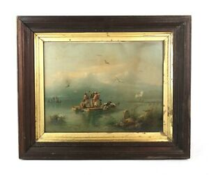 Rare-Antique-19th-Century-Bird-Hunting-Lithograph-Print-of-Arab-Hunters-in-Boat