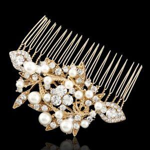 Vintage-Women-GOLD-Bridal-Pearl-Hair-Comb-Wedding-Accessories-elegant-Headpiece