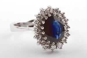 Saphir-Ring-antik-585-14k-Weissgold-mit-Saphir-2-7ct-und-Altschliff-Diamanten