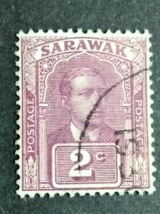 Malaya-Sarawak-1928-Sir-Charles-Vyner-Brooke-Wmk-Rosette-2c-Violet-1v-Used