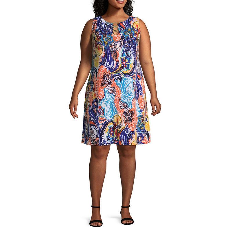 MSK Women's Plus Size Size Size Paisley Sleeveless Soft Knit Multi color Shift Dress 2X ff929c