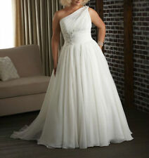 Plus Size One Shoulder Tulle Wedding Dress Bridal Gown Custom Size 18 20 22 24++
