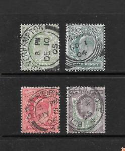 1902-King-Edward-VII-SG217-a-SG221-Court-Set-grande-marques-postales-utilisees-en-Grande-Bretagne