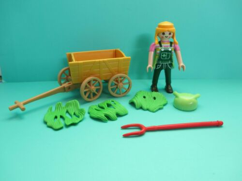 ORANGE WAGON GREEN HAY RED PITCHFORK Playmobil MODERN WOMAN IN OVERALLS
