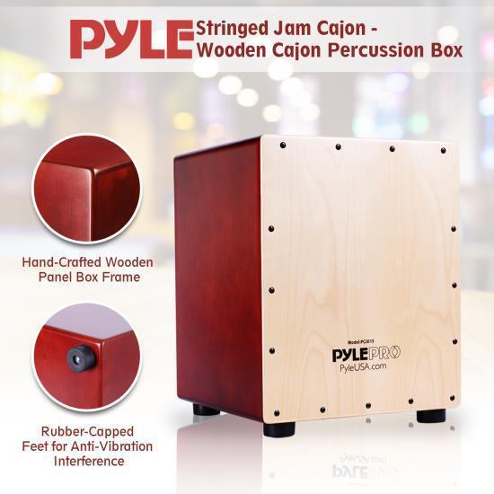 Pyle-Pro PCJD15 Stringed Jam Cajon - Wooden Cajon Percussion Box