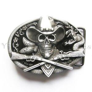 Skull Cowboy w// Rifle Bronze Western Metal Fashion Belt Buckle