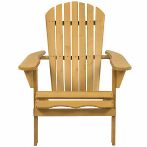 Details About Outdoor Folding Natural Finish Hemlock Wood Adirondack Chair Lawn Yard Furniture