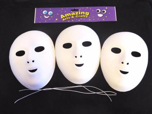 Vestido de fantasía mascarillas para pintar y decorar Paquete de 3 acabado aterciopelado