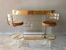 INCREDIBLE 70'S LIT LUCITE BAR W TWO LUCITE TUSK STOOLS - P