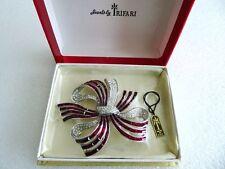 """Rare vintage lge 3"""" Crown Trifari invisible set bow pin brooch original box &tag"""