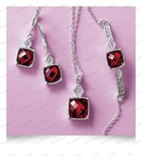 pulsera Impresionante De 3 Piezas Nacimiento Set Piedra Ruby Rojo Plaza Colgante aros