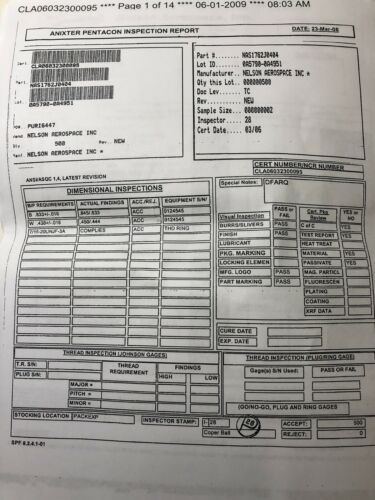 "NAS1762J0404 1//4"" Flareless Tube Swivel Elbow 304SS Stainless Certified"