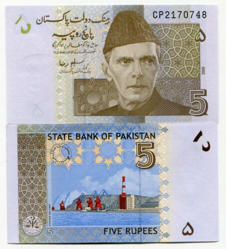 P-53 UNC World Currency 2009 PAKISTAN 5 Rupees