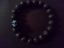 Black Lava Brimstone Blue Austrian Crystal Skull Baby Chrome King Bracelet