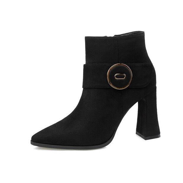 Stivali bassi stivaletti bassi Stivali scarpe stiletto 9 cm nero  eleganti simil pelle 9607 15389c