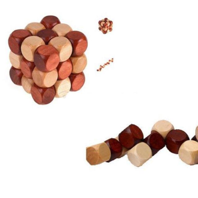 Excellent New Kids Adult Snake Cube Wooden Brain Teaser Puzzle Toys 4.5cm LJU