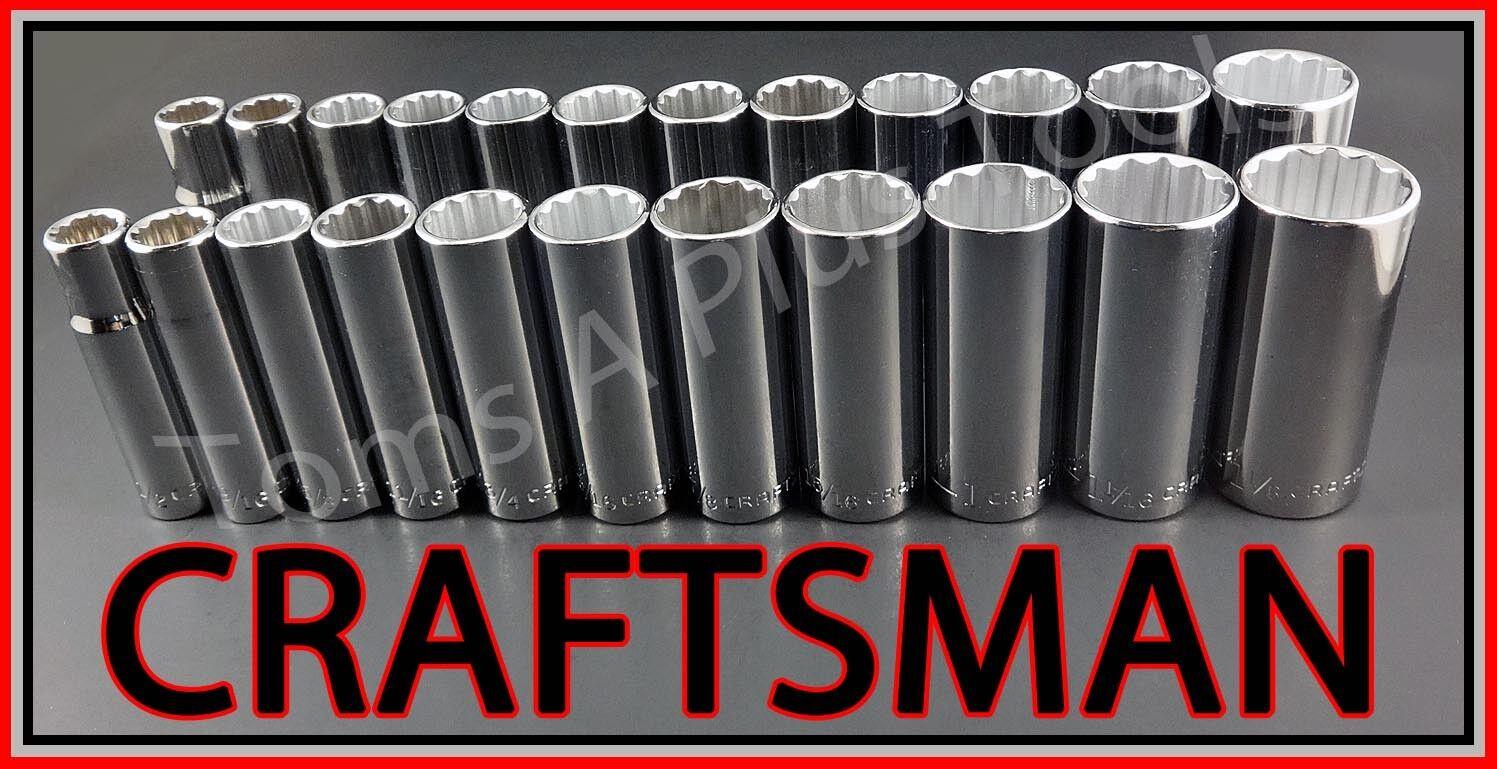 CRAFTSMAN HAND TOOLS 23pc 1 2 DEEP SAE METRIC MM 12pt ratchet wrench socket set