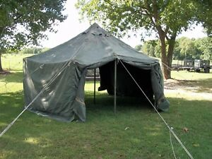 Details about MILITARY SURPLUS CANVAS GP SMALL TENT 17x17 FT CAMPING  HUNTING ARMY   NO POLES