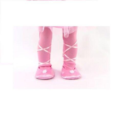 "Doll Clothes 18/"" Dress Pink Daisy Ice Skating Ballet Slipper Headband Fit AG Dol"