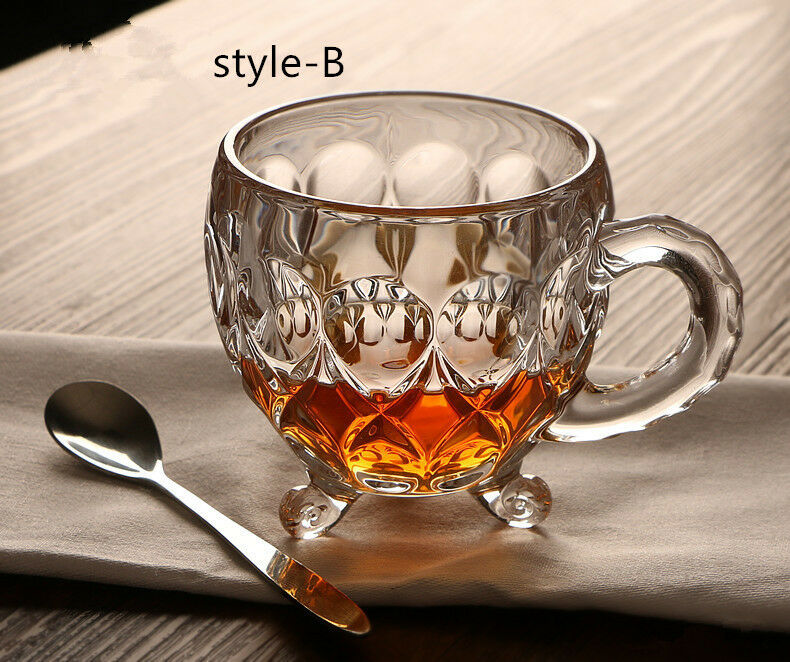 Insulated Glass Tea Cup with spoon, (STYLE B, FIGURE 8) Christmas, Anniversary