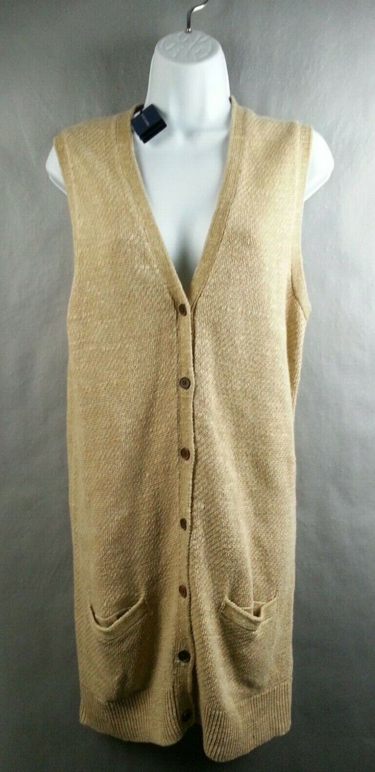 NWT Ralph Lauren Sleeveless Tan Italian Linen Sweater Vest  Size L Large