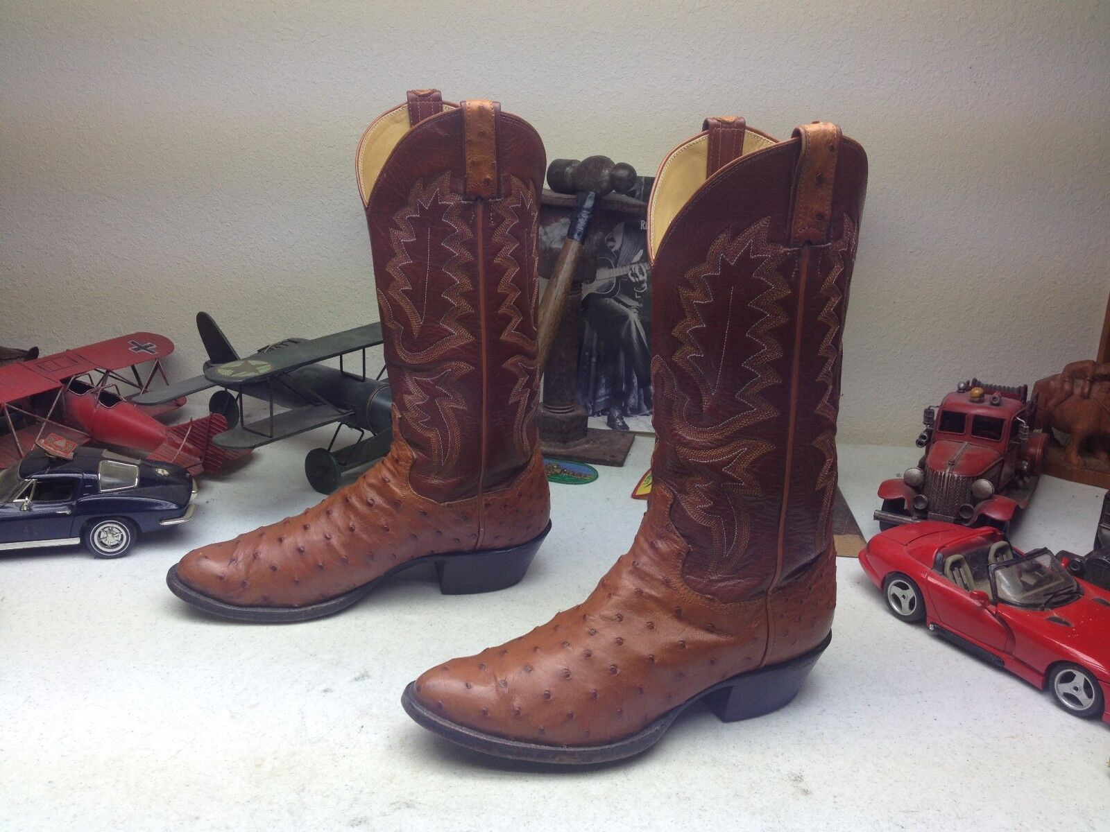 PANHANDLE SLIM Coñac ingeniero de cuero de avestruz Western Trail Boss botas 8 D