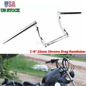 Motorcycle 7 8 Handlebars Chrome Z Bar Drag Bars For Chopper Bobber Yamaha Bmw Ebay