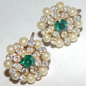 Vintage-signed-Charm-green-white-clear-rhinestone-faux-pearl-screwback-earrings