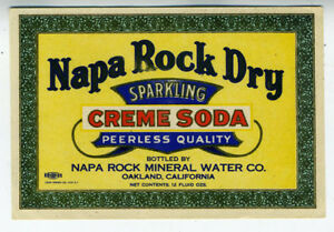 NAPA ROCK SPARKLING WATER Bottle Label 1920/'s Oakland California