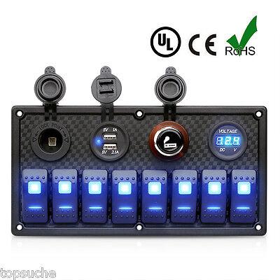 5 PIN 8 Porte 2 USB Interruttore Pannello Led Blu AUTO Caricabatterie Voltometro