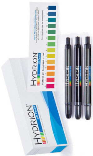 3pk Hydrion InstaCheck 013 pH TEST Pencil Pen Acid Alkaline SURFACE Testing Kit