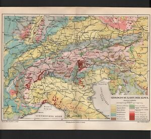Map Map 1894: Geological Map of the Alps. Scale: 1: 3.000.000 Italy ...