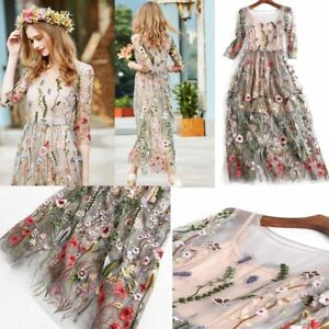 Details About Womens Party Skirts Bohemian Flower Embroidered Lace Long Sheer Boho Mesh Dress