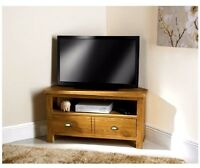 Wiltshire Modern Solid Oak Tv Plasma Lcd Corner Table With 2 Drawer Table Unit
